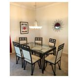 Rectangular Black Metal w/glass top Dining Table & 6 Chairs - $195