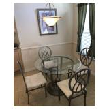 Round Dinette w/Pewter-tone base/4 chairs and beveled glass top - $395