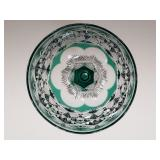 American brilliant period cut glass turquoise cut to clear