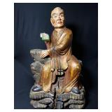 ming period louhan buddha polychrome paint