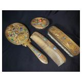 Chinese sterling silver vanity set