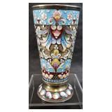 gustav klingert enamel on sterling russian beaker