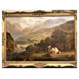 Large Landscape With Cow Painting 19th C