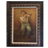 Karl Witkowski Painting With Boy & Dog 1860-1910