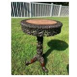 Chinese Rosewood and Marble Table