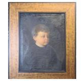 Antique O/C Portrait Painting of A Boy 19th C