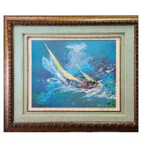 Hand Signed Leroy Neiman Lithograph BLUE SAILING