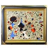 Oil On Canvas Abstract Painting Signed Miro