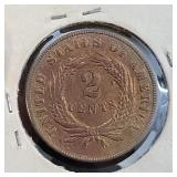 1869 US 2 CENTS AU BROWN