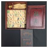 Vintage Chinese Mahjong Game Set Bone And Bamboo