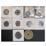 Lot Of 10 Old Japanese & Chinese Coins