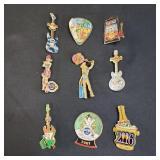 9 Hard Rock Cafe Collectible Pins
