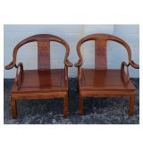 2 Chinese Hardwood Rosewood Horseshoe Back Chairs