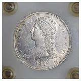 1836 50 Cent Bust Half Dollar REEDED EDGE AU 55