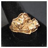 Chinese 14K Gold Ring 2 Dragons W/ Amethyst & Emeralds