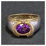 Ladies 14K Gold Ring With Amethyst 5 Grams