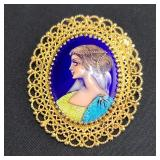 18k Gold French Hand-painted Enamel Brooch / Pendant