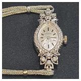 14k Gold Croton Ladies Watch With Diamonds