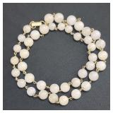 Chinese White Jade Necklace Mounted On 14k Gold