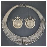Heavy Antique Sterling Silver Necklace Set 511 Grams