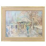 John Chetcuti 1900-1976 New York Street Scene Painting