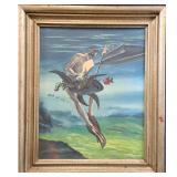 Signed Delphin De Aguilera Painting 1957