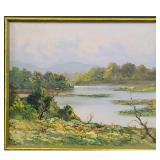 T. Manza Impressionist River Landscape Oil Painting