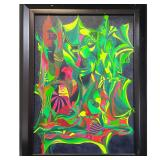 Psychedelic Op Abstract Art Painting Signed Annette