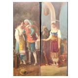 Pair of Antique Blackamoor Romance Panel Paintings