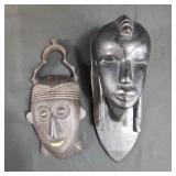 2 Hand Carved African Wall Sculptures