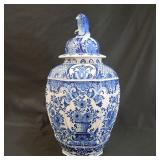 19th C Delft Blue and White Covered Vase Signed
