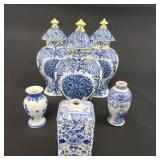 Lot of 6 Early Delft Porcelain Vases