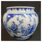 Chinese Blue and White Planter w/ Figures