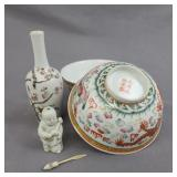 Chinese Porcelain Bowl Vase and a Figural Snuff Bottle