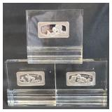 3 Pure Sterling Silver Bars 1000 Grains Each FATHER