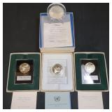 4 Sterling Silver Medals J F Kennedy Included