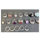 Lot Of 19 Sterling Silver Rings With Various Stones