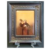 Antique Hand-Painted Limoge Plaque In Period Frame