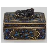 Solid Chinese Silver Filigree & Enameled Box W/ Topaz