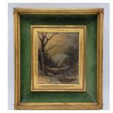 SCOTTISH / NY Thomas Lochlan Smith 1835-84 Snow Landscape Painting Signed In Period Frame