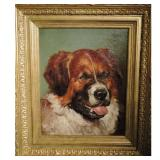 John Emms British 1843-1912 St Bernard Dog Portrait Study Oil On Canvas Signed And Dated 1900