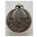 19th C Sterling Silver Fusee Pocket Watch