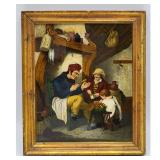 """A Very Fine 18-19th C Interior Painting Reverse Painted. Frame measure 12.5"""" x 10.5"""""""