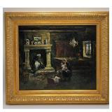 Old O/C Laid On Board Interior Impressionist Painting