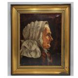 19th C Oil On Canvas Portrait Painting Of An Old Woman Signed E.W.