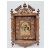 19th C Russian Icon With Sterling Silver. Shadow Box