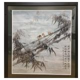 20th C Chinese Watercolor Snow Painting W/ Birds Signed