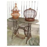 Vintage Singer Sewing Maching Base and 2 Bird Cages