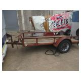 SINGLE AXLE METAL TRAILER WITH WOOD FLOOR 10FT. X 5FT. WHEEL WELL DENTED. NO TITLE BILL OF SALE ONLY