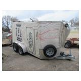 WELLS CARGO ENCLOSED TRAILER TANDEM AXLE 16FT X 6FT. HAS SOME MAJOR DAMAGE ON EXTERIOR AS SHOWN BUT